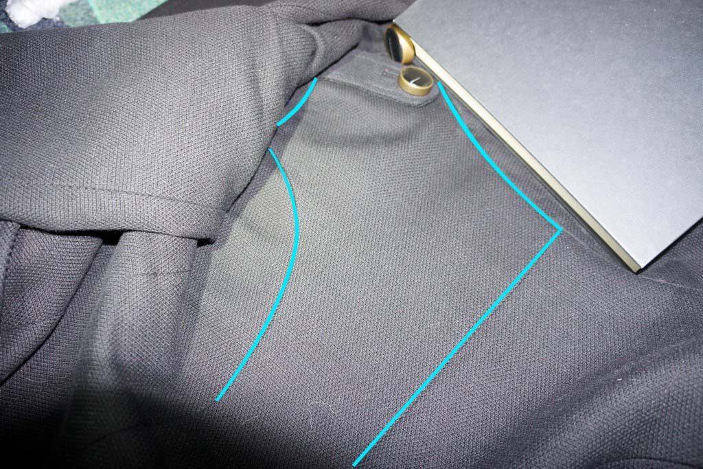Aloita jäljentäminen takin takakappaleen yläosasta...